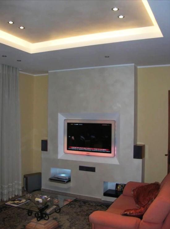 Latest parete in cartongesso per tv e illuminato with parete cartongesso con porta - Parete in cartongesso con porta ...